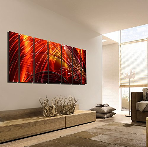 Amazon.com Extra Large Contemporary Metal Wall Art - Red Gold Magenta with Earth Tone Painting - Panel Art Wall Decor Wall Accent for Home or Office ... & Amazon.com: Extra Large Contemporary Metal Wall Art - Red Gold ...