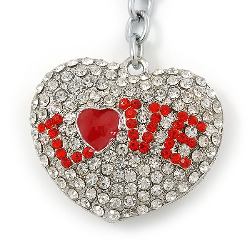 85mm Length Avalaya Rhodium Plated Clear Crystal Love Puffed Heart Keyring//Bag Charm