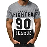 Hotkey Men's Workwear Pocket Shirt Fashion Men's Casual Slim Letter Printed Short Sleeve T Shirt Top Blouse Gray