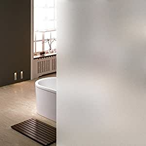 Coavas Window Film Non Adhesive Frosted Privacy Window Film Self Static Cling Vinly Window Film Both Suitable for Home and Office (White 17.7by78.7 Inch)