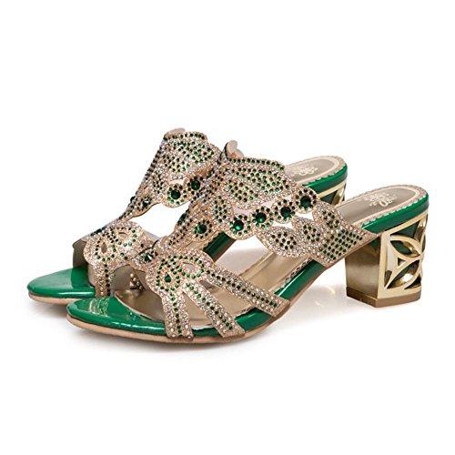 Green Bloc Mules Taoffen Femmes Sandales a1wHq