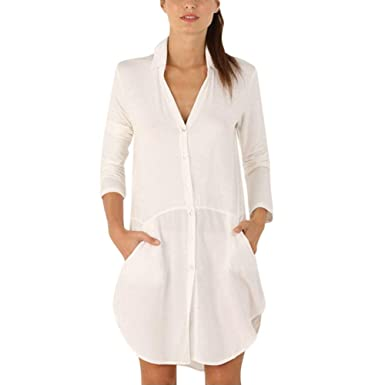 Amazon.com: iHPH7 Women Laides Roll up Long Sleeve Button Down Solid with Pocket Mini Dress: Clothing