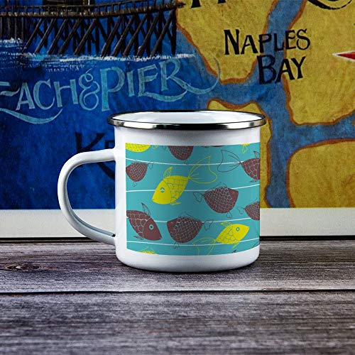 Enamel Camp Mug Tumbler with Handle Tin Camping Flask Durable Hiking Campfire Coffee Tea Travel Mug for Hot & Cold Drinks For Husband Dad Grandpa Grandma - Fish Pattern Line Design - 10 oz