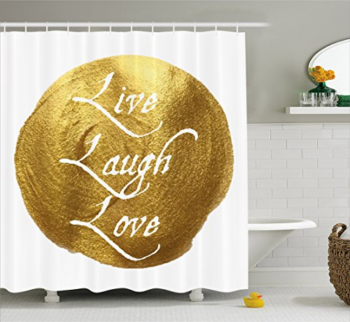Ambesonne Live Laugh Love Decor Shower Curtain, Inspirational Words Life Message on a Big Gold Colored Spot Modern Design, Fabric Bathroom Decor Set with Hooks, 75 inches Long, White Gold by Ambesonne