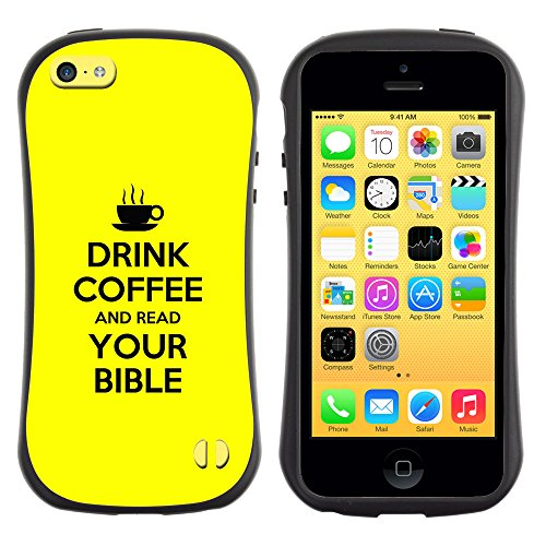 DREAMCASE Citation de Bible Silicone et Rigide Coque Protection Image Etui solide Housse T¨¦l¨¦phone Case Pour APPLE IPHONE 5C - DRINK COFFEE AND READ YOUR BIBLE