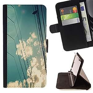 BullDog Case - FOR/Samsung Galaxy S4 IV I9500 / - / clouds sky sun bird sitting nature /- Monedero de cuero de la PU Llevar cubierta de la caja con el ID Credit Card Slots Flip funda de cuer