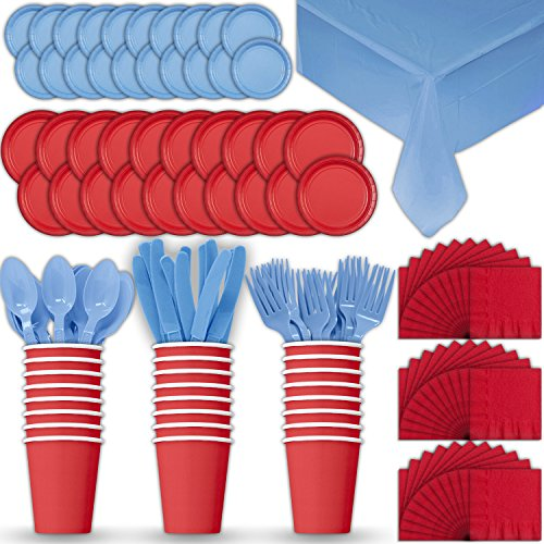 (Paper Tableware Set for 24 - Red & Light Blue - Dinner and Dessert Plates, Cups, Napkins, Cutlery (Spoons, Forks, Knives), and Tablecloths - Full Two-Tone Party Supplies Pack)