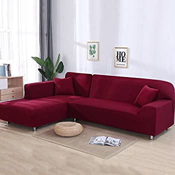 Attrayant Cjc Universal Sofa Covers For L Shape, 2pcs Polyester Fabric Stretch  Slipcovers + 2pcs Pillow