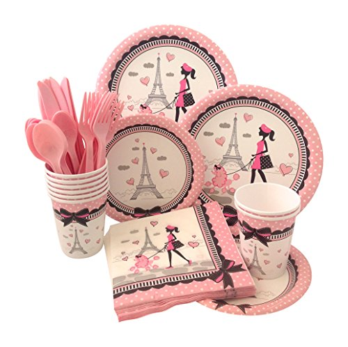 Party in Paris Birthday Supply Pack! Bundle Includes Paper Plates, Napkins, Cups & Silverware for 8 Guests