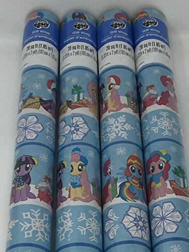 Gift Wrap - Holiday My Little Pony Themed - Blue Wrapping Paper - 1 Roll - 20 sq -