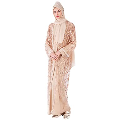 Amazon.com  Women Lace Kimono Cardigan Muslim Abaya Robe Kaftan Dubai Maxi  Dress Kaftan Cocktail Formal Evening Party Gown  Clothing a8c9b42928b4