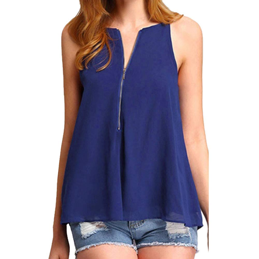 Koolee/_Tops Womens Solid Loose Chiffon Blouse Casual V-Neck Pleated Tunic Tank Top Vest