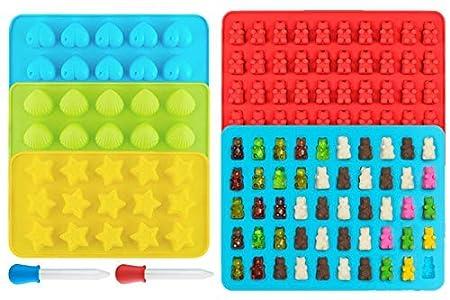 Ecoki Gummibärchen/Schokoladenform 5er Set aus Silikon, LFGB Zertifiziert BPA-frei Silikon Bonbons, Pralinenformen - Herz-, S