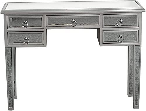 TiTa-Dong Mirrored Makeup Table,Makeup Dressing Table with 5 Drawers,Silver Reflective Glass Mirrored Media Console Table Vanity Desk for Women Girls Home Office