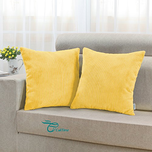CaliTime Pack of 2 Cozy Throw Pillow Covers Cases for Couch Bed Sofa, Ultra Soft Corduroy Striped Both Sides, 18 X 18 Inches, Yellow