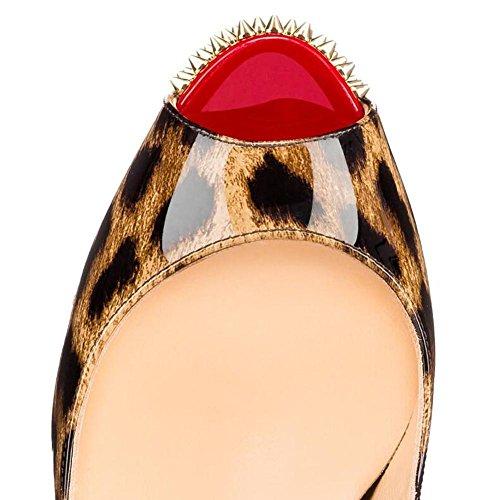 L@YC Frauen Fische Mund High Heels Wasserdichte Tisch Nieten Single Bequeme Sandalen Leopard Farbe Leopard