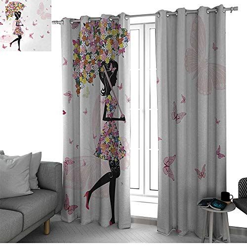 (Girls Microfiber Window Panel Pair Girl with Floral Umbrella and Dress Walking with Butterflies Inspirational Art Print Blackout Curtain Pink Black W96 x L96 Inch)