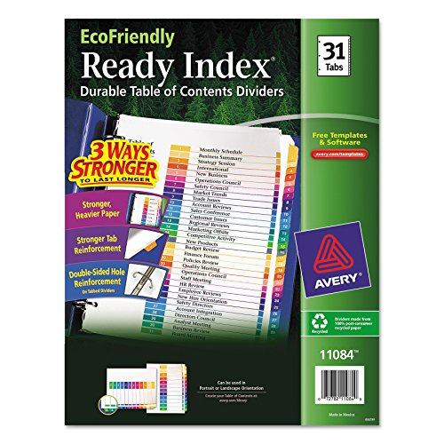 Avery EcoFriendly Ready Index Table of Contents Dividers, 31-Tab Set (11084) (Tabs 31 Numbered)