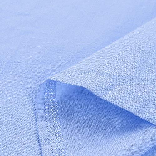 Manches Chemise Coton Boutons Blouse Hauts Unie Femmes Longues Casual XXL S Lin Fathoit Bleu Chemisier Femme Couleur XSPqf