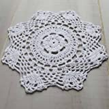 Package of 12 Hand Crocheted Round White Doilies - 100% Cotton- Approximate 8'' Round Diam.