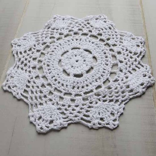 """Package of 12 Hand Crocheted Round White Doilies - 100% Cotton- Approximate 8"""" Round Diam."""
