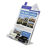 Clear-Ad - HSE-8511-C2 - Clear Acrylic house shape brochure holder with DUAL business card holder (Pack of 12)