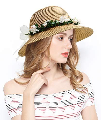 Lovful Floppy Tea Party Hats Flowers Straw Hat for Women,Style2_Khaki