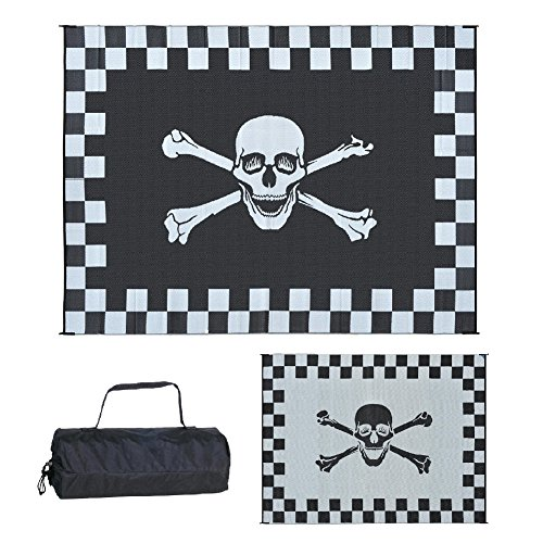 Reversible Patio Mat Racing - Stylish Camping RF-9122 9-Feet x 12-Feet Racing Pirate Mat