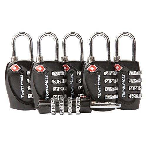 6 Pack TSA Approved Luggage Locks for Travel Safety, Small 4 Digit Combination Padlocks for Suitcases, Lockers & (Go Go Boots Australia)