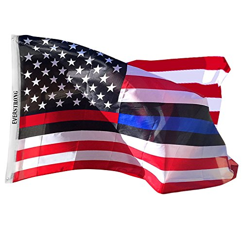 Thin Red Line USA American Police Firefighter Flags - Honor Law Enforcement Officers LEO Men Women – Non Fade Polyester with Grommets – Flag Poles Indoors / Outdoor 3Ft x 5Ft Red / Blue Line