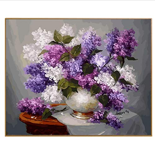 Xqi wangpu DIY Coloring Picture by Numbers Pintura Caligrafía Lienzo Imágenes Púrpura Flor Pintura al óleo by Numbers Dibujo Nodular sin Marco 16x20 Inch