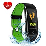 NioeHome Fitness Tracker HR, Heart Rate Monitor Smart Watch, IP 67 Waterproof Wristband Fitness Step Counter, Calories Counter, Sleep Monitor, Pedometer Watch for Men, Women Android iOS