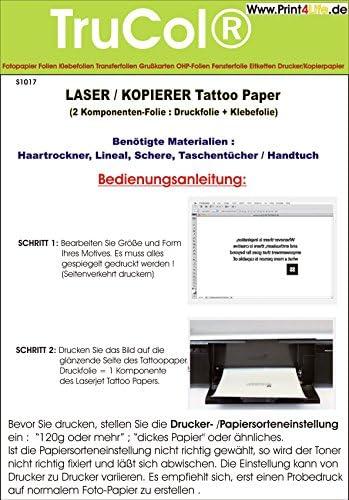 Tattoo – Transferfolie FÜR DIE Haut - zum aufkleben und selbst gestalten - für Laserdrucker und Kopierer (A4 – 5 Blatt) - Tattoofolien