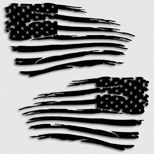 American Flag Decal Distressed Grunge Style Battle Military Decal Set Matte Black - Flag Patriotic Decal