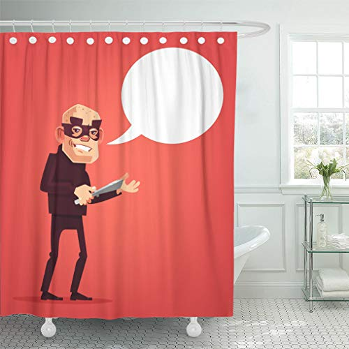 Emvency Shower Curtain Loot Thief Male Character Holds Knife Speech Bubble Flat Shower Curtains Sets with Hooks 60 x 72 Inches Waterproof Polyester Fabric ()