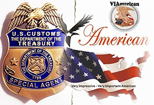 VIAmerican - Antique Gold Special Agent Badge prop with Pin back and Branded Leather Holder *We pay tribute to those who strive to Keep us and our Family Safe and live in Peace