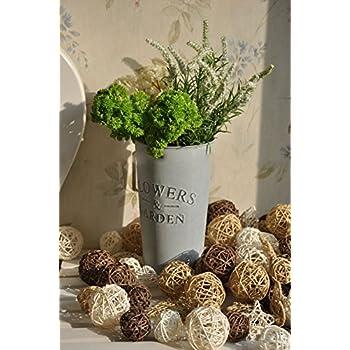 Biowow 12Pcs Handmade Wicker Rattan Balls Decorative Spheres Vase Filler  Ornament Decoration ,Wedding Christmas Party