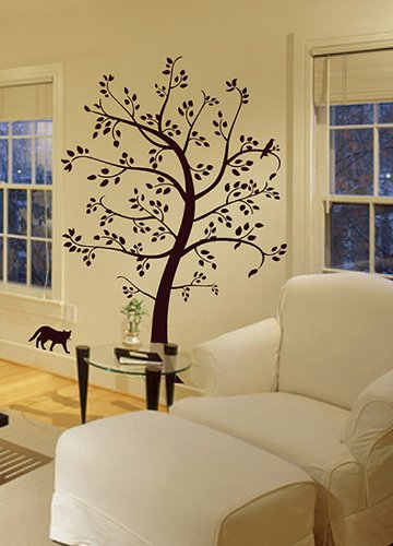 Customizable Big Tree with Cat and Bird Wall Decal Deco Art Sticker ...