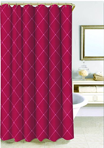 SAM HEDAYA Wellington Shower Curtain, X-Long, Wine