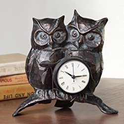 SPI Home Nighttime Love Owl Pair Clock