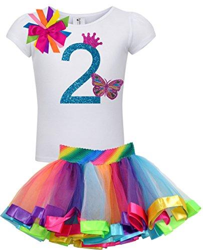 Princess Bubblegum Outfits (Bubblegum Divas Baby Girls 2nd Birthday Rainbow Princess Butterfly Tutu Outfit 18 Months)
