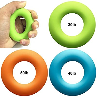 Hand Exerciser Stress Relief Squeeze Balls Grip Rings Finger Strengthener Fitness Training (30lb-80lb) for Muscle Built, Physical Therapy, Office Stress Relief