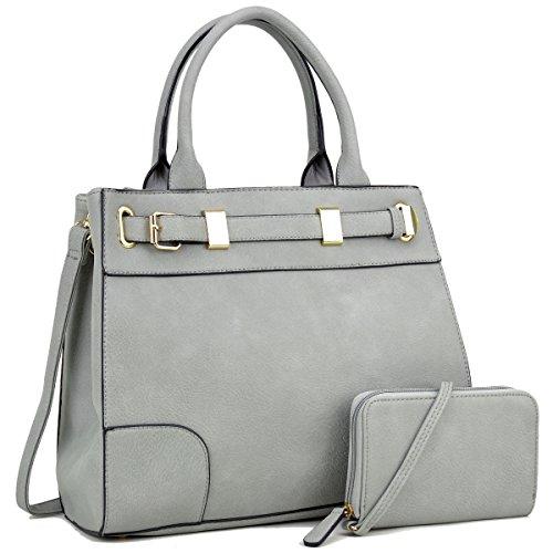 Dasein Women Designer Satchel Handbags Purses Shoulder Bag Work Briefcase with Matching Wallet Set -