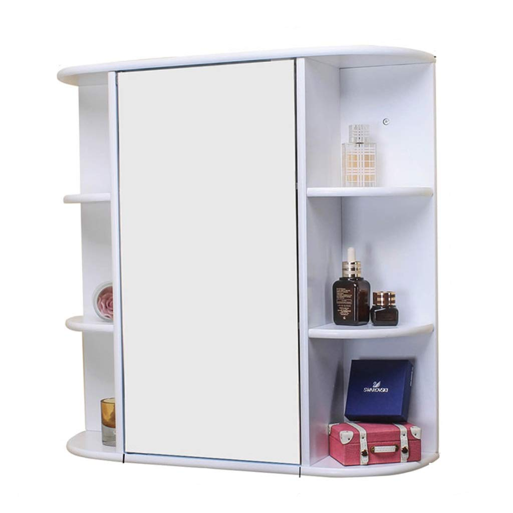 White 58.25916cm Bathroom Mirror Cabinet Wall-Mounted Mirror Cabinet Bedroom Makeup Mirror Cabinet Full Body Mirror Cabinet Bathroom Locker Cabinet Mirror Box (color   White, Size   58.2  59  16cm)