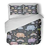 SanChic Duvet Cover Set Colorful Cute Funny Elephants in Childish Style Great and Design Africa Decorative Bedding Set with Pillow Sham Twin Size