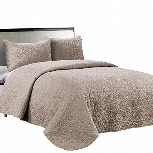 Jackson Hole Home PREWASHED 3 PC Solid Color Soft Quilt Set,