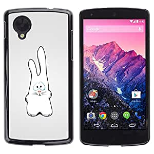 PC/Aluminum Funda Carcasa protectora para LG Google Nexus 5 D820 D821 White Rabbit Art Drawing Figure Big Ears / JUSTGO PHONE PROTECTOR