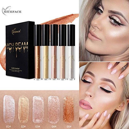Price comparison product image Vanvler Highlighter ,Naked Smoky Eyeshadow - Silky Highlight Silkworm Bright Liquid Concealer (colorful)