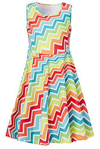 Unicorn Striped Printed Casual Summer Dress for Little Girls Kids Colorful Sleeveless Skirts A-line One Piece Sundress L Size 8-9 Years Old