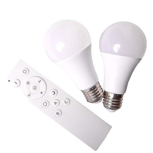 SHD - Juego de 2 bombillas LED E27 con mando a distancia, bombilla con cambio de color 2700 – 5000 K, función de luz nocturna, 9 W, 200 – 800 lúmenes, ...
